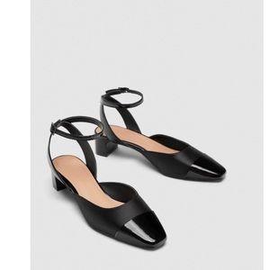 NWT Zara black MID-HEEL SLINGBACK SHOES size 37